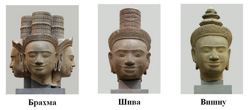 Рис. 15. Фрагменты статуй верховных богов индуизма из храма Пном Бок близ Ангкора (хранятся в музее Гиме, Франция).
