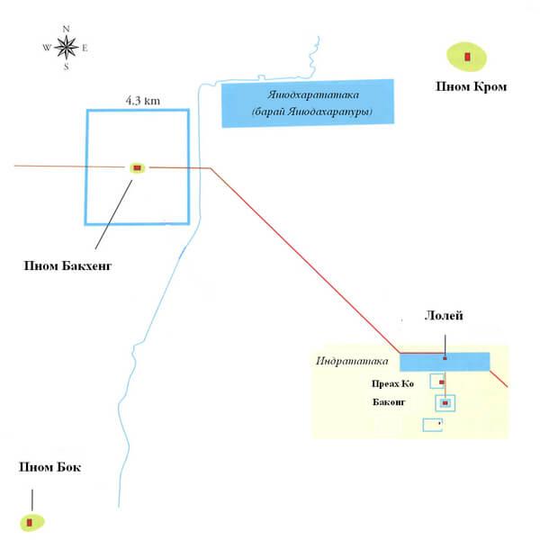 Рис. 32. Схематический план района кхмерских столиц во времена Яшовармана I.