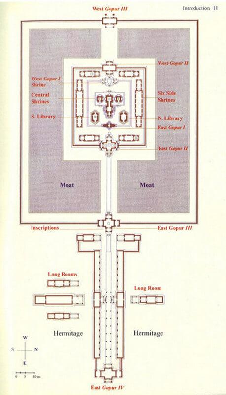 Рис. 37. План храмового комплекса Бантей Срей (967 г.).