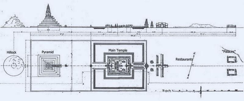 Рис. 34. План центрального храмового комплекса Лингапуры (перв. пол. X в.).