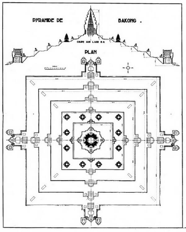 Рис. 24. Профиль и план храма Баконг (IX в.).