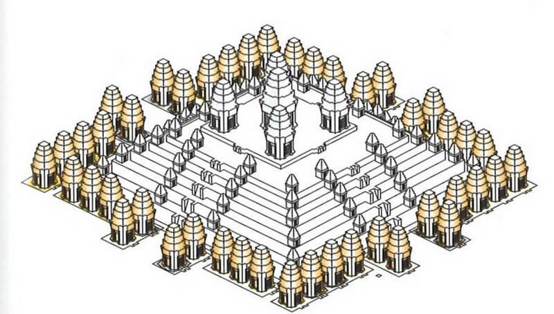 Рис. 28. Модель храма Пном Бакхенг (конец IX в.), реконструкция.