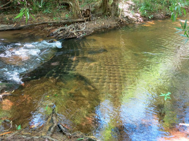 Рис. 47. Орнаменты из плоских линг на дне реки, Кбал Спиен.