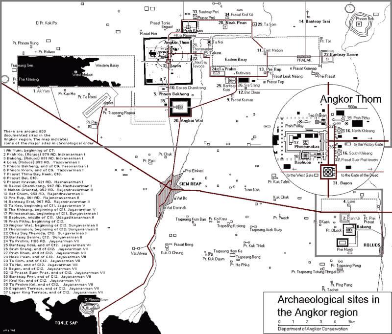 Схема археологических объектов в районе Ангкора.