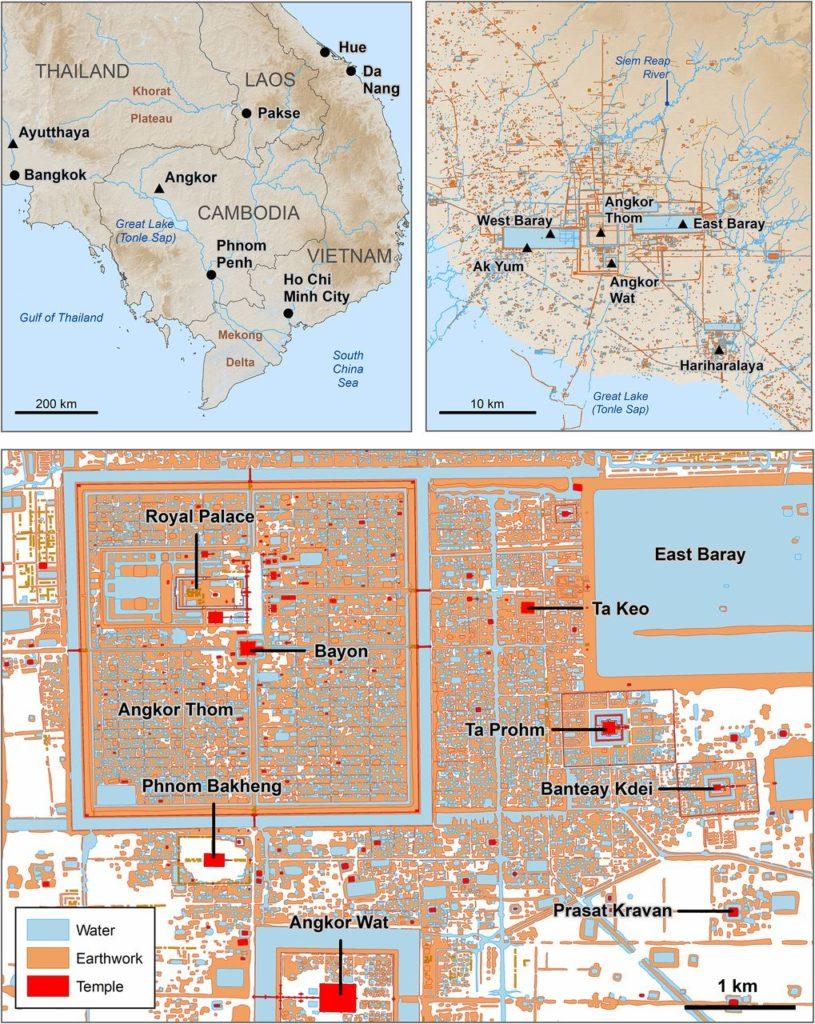 Рисунок 1. Карта расположения Ангкора, а также расположение сайтов, указанных в тексте.