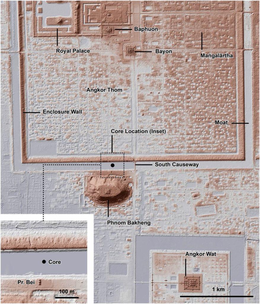 Рис. 4. Лидарная топографическая карта центрального Ангкора, показывающая расположение основного участка в отношении особенностей, описанных в тексте, и топографические свидетельства интенсивного занятия как внутри, так и вокруг стены рва и вольера Ангкор Тхома.